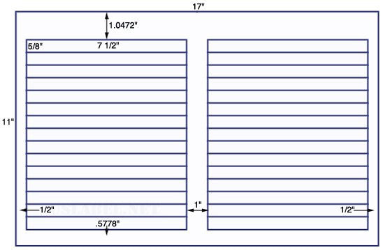 US7270 - 7 1/2'' x 5/8'' - 30 up label on a 11'' x 17'' sheet - 30,000 labels.