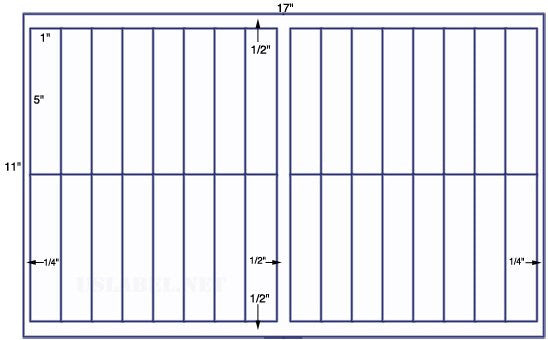 US7379 - 1'' x 5'' - 32 up label on a 11'' x 17'' sheet - 32,000 labels.