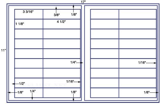US7401 - 3 3/16'' x 1 1/8'' - 36 up label on a 11'' x 17'' sheet -36,000 label.