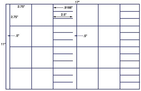 US7426 - 2 3/4'' x 2 3/4'' Square 40 up on a 11'' x 17'' sheet - 40,000 labels.