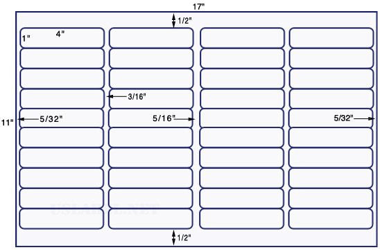 US7440-4'' x 1'' w/Vert Gutter-40 up label on a 11''x17'' sheet - 40,000 labels.