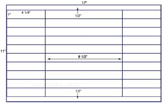 US7460 - 4 1/4'' x 1'' - 40 up label on a 11''x17'' sheet - 40,000 labels.