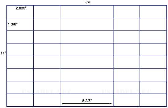 US7521 - 2.833'' x 1.375'' - 48 up label on a 11'' x 17'' sheet - 48,000 labels.