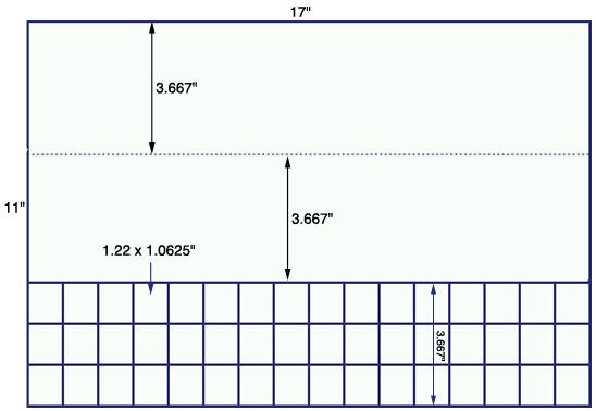 US7522 - 1.22'' x 1 1/16'' - 48 up label on a 11'' x 17'' sheet - 48,000 labels.