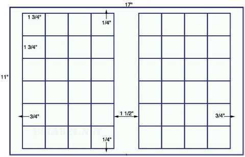 US7523-1 3/4''x1 3/4'' Square 48 up label on a 11'' x 17'' sheet-48,000 labels.