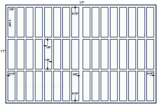 US7540 -7/8'' x 3 3/8'' - 48 up label on a 11'' x 17'' sheet 48,000 labels.