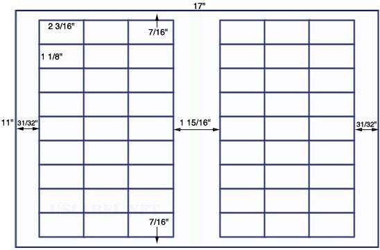 US7560 - 2 3/16'' x 1 1/8'' -54 up label on a 11'' x 17'' sheet - 54,000 labels.