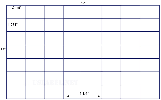 US7580 -2 1/8'' x 1.571'' - 56 up labels on a 11'' x 17'' sheet - 56,000 labels.