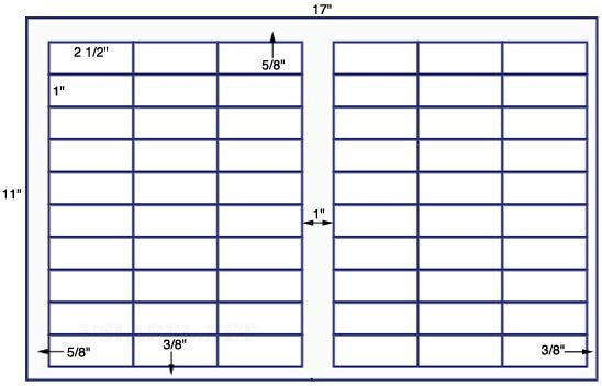 US7599 - 2 1/2'' x 1'' - 60 up label on a 11'' x 17'' sheet - 60,000 labels.