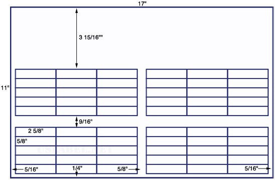 US7620 - 2 5/8'' x 5/8'' - 60 up on a 11'' x 17'' sheet - 60,000 labels.
