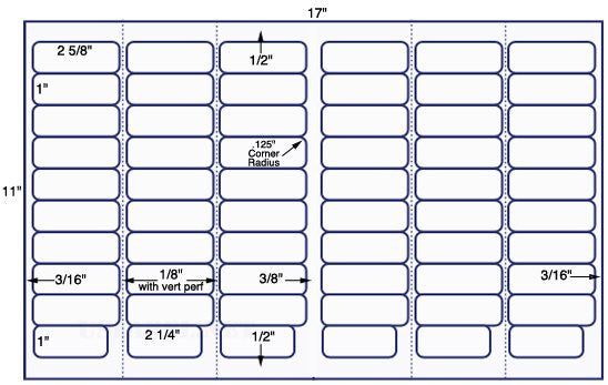 US7641-2 5/8'' x 1'' - 2 1/4'' x 1'' - 60 on a 11'' x 17'' sheet - 60,000 labels