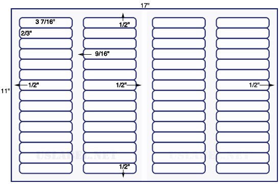 US7680 - 3 7/16'' x 2/3'' - 60 file folder labels on a 11'' x 17'' sheet - 60,000 labels.