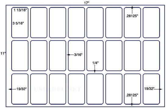 US8640-3 5/16'' x 1 13/16'' - 24 labels on a 11'' x 17'' Sheet - 24,000 labels.