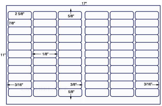 US7707 - 2 5/8'' x 7/8'' - 66 up on a 11'' x 17'' sheet - 66,000 labels