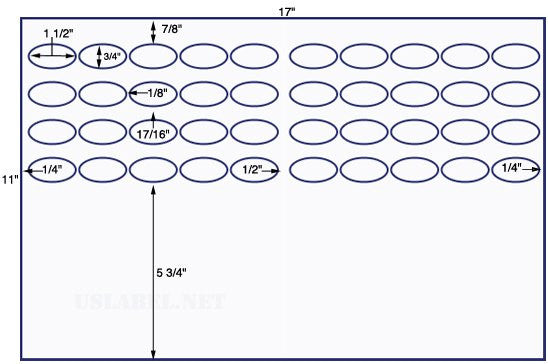 US8360 - 1 1/2'' x 3/4'' Oval 40 up label on a 11'' x 17'' sheet - 40,000 Labels