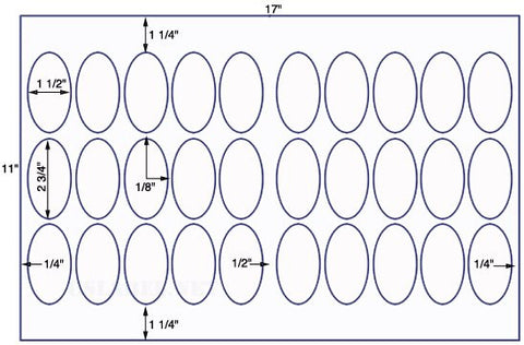 US8339 -1 1/2'' x 2 3/4'' Oval 30 up label on a 11'' x 17'' sheet -30,000 Labels