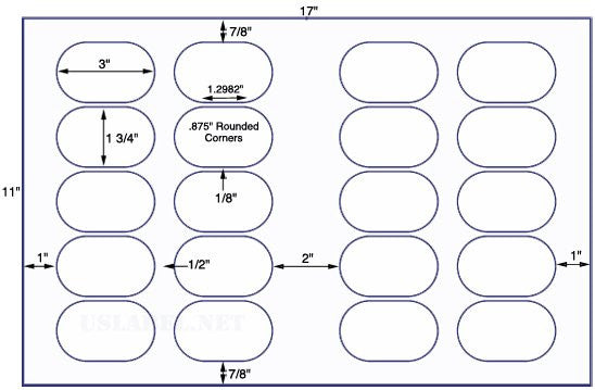 US8321 - 3'' x 1 3/4'' Oval 20 up label on a 11'' x 17'' sheet - 20,000 Labels.