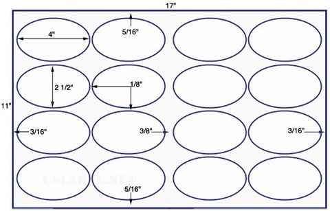 US8319 - 4'' x 2 1/2'' Oval 16 up label on a 11'' x 17'' sheet - 16,000 Labels.