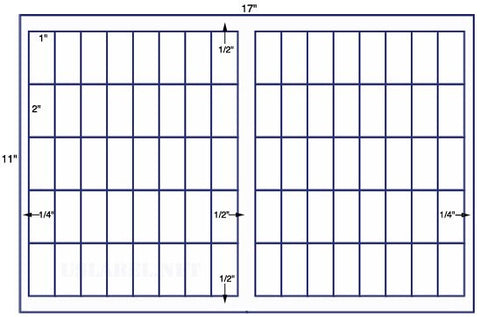 US7738 - 1'' x 2'' - 80 up on a 11'' x 17'' sheet - 80,000 labels