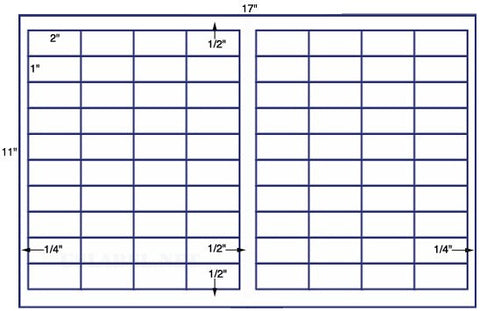 US7739 - 2'' x 1'' - 80 up on a 11'' x 17'' sheet - 80,000 labels.