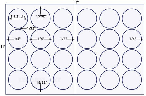 US8200 - 2 1/2'' circle - 24 up up on a 11'' x 17'' sheet - 24,000 labels.
