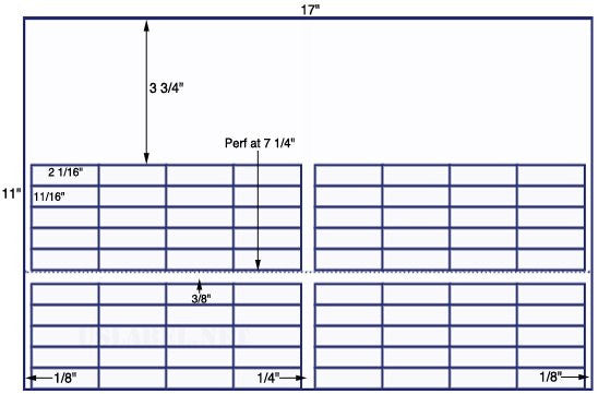 US7746 - 2 1/16'' x 11/16'' - 80 up on a 11'' x 17'' sheet - 80,000 labels.
