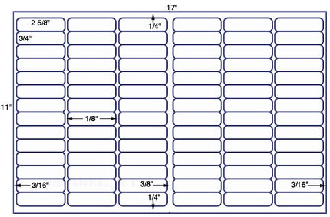 US7760 - 2 5/8'' x 3/4'' - 84 up on a 11'' x 17'' sheet - 84,000 labels.