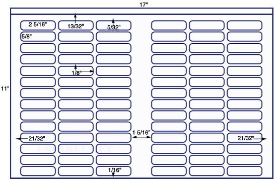 US7800 - 2 5/16'' x 5/8''  - 84 up on a 11'' x 17'' sheet - 84,000 labels.