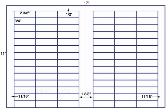 US7801 - 2 3/8'' x 3/4'' - 84 up on a 11'' x 17'' sheet - 84,000 labels.