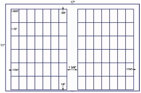 US7820 - 1 1/16'' x 1 3/4'' -84 up label on a 11'' x 17'' sheet - 84,000 labels.