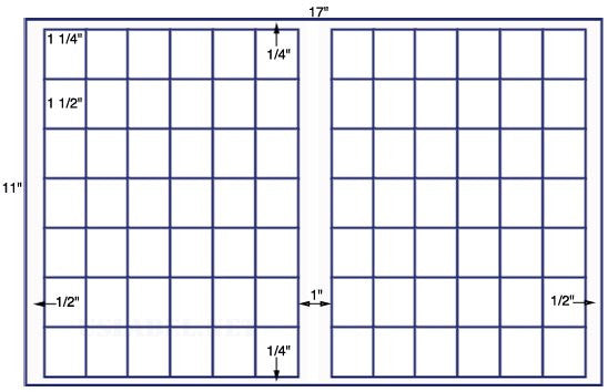 US7821 - 1 1/4'' x 1 1/2'' - 84 up label on a 11'' x 17'' sheet - 84,000 labels.