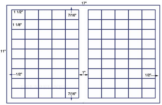 US7830 - 1 1/2'' x 1 1/8'' - 90 up label on a 11'' x 17'' sheet - 90,000 labels.