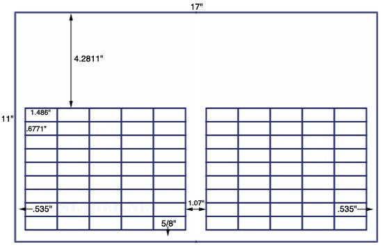 US7831 - 1.486'' x .6771'' - 90 up label on a 11'' x 17'' sheet - 90,000 labels.