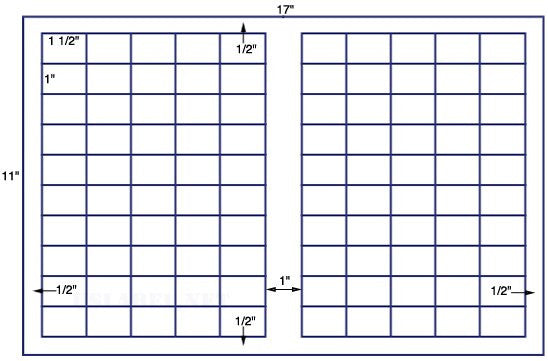 US7860 - 1 1/2'' x 1'' UPC-100 up label on a 11'' x 17'' sheet - 100,000 labels.