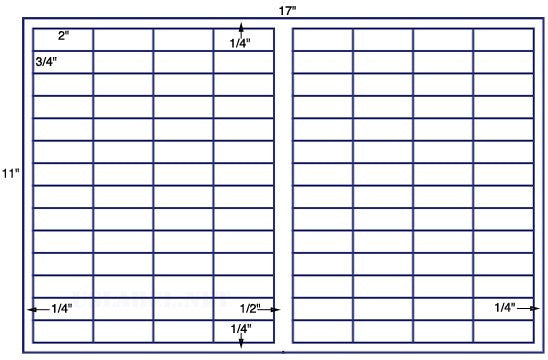 US7880 - 2'' x 3/4'' - 112 up label on a 11'' x 17'' sheet - 112,000 labels.