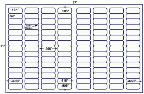 US7884 - 1 3/4'' x 2/3'' - 120 up label on a 11'' x 17'' sheet - 120,000 labels.