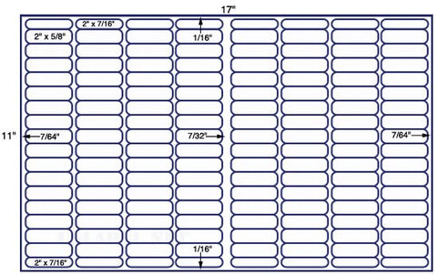 US7895- 2''x5/8'' & 2''x7/16'' - 144 up on a 11'' x 17'' sheet - 144,000 labels.