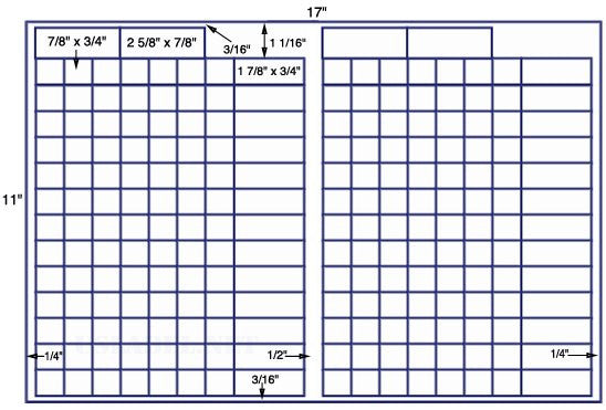 US7949 - 7/8'' x 3/4''- 212 up on a 11'' x 17'' sheet - 212,000 labels.