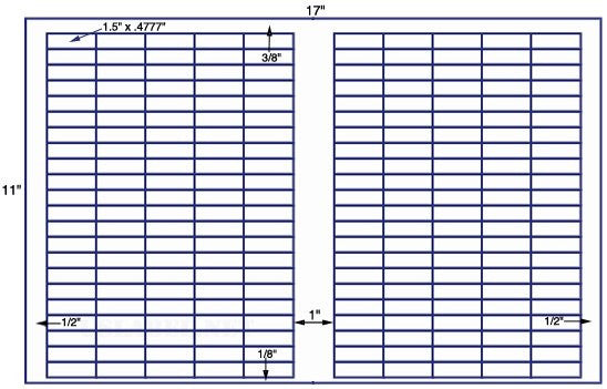 US7950 - 1 1/2'' x .477'' - 220 up on a 11'' x 17'' sheet - 220,000 labels.