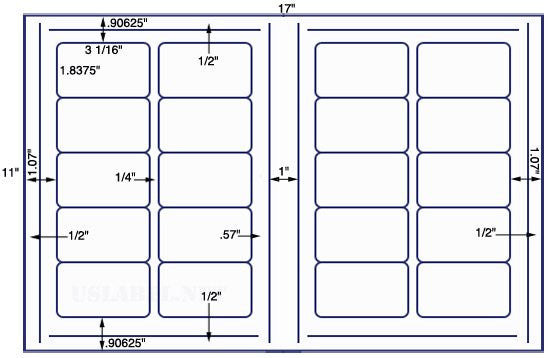 US8005 - 3 1/16'' x 1 13/16'' - 20 up on a 11'' x 17'' sheet - 20,000 label.