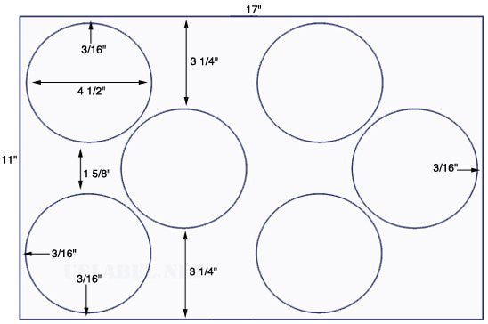 US8160 - 4 1/2'' Diameter circle -6 up up on a 11'' x 17'' sheet - 6,000 labels.