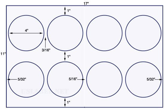 US8167 - 4'' Diameter circle - 8 up on a 11'' x 17'' sheet - 8,000 labels.