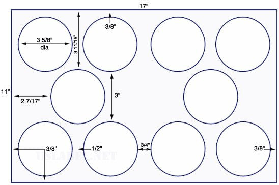 US8172- 3 5/8'' Diameter Circle - 10 up on a 11'' x 17'' sheet - 10,000 labels.