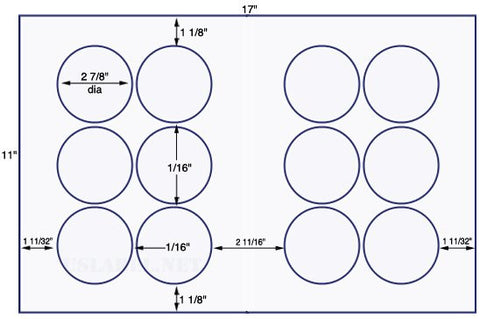 US8178 - 2 7/8'' Diameter circle - 12 up on a 11'' x 17'' sheet - 12,000 labels.