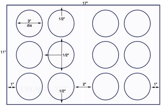 US8179- 3'' Diameter circle - 12 up on a 11'' x 17'' sheet - 12,000 labels.