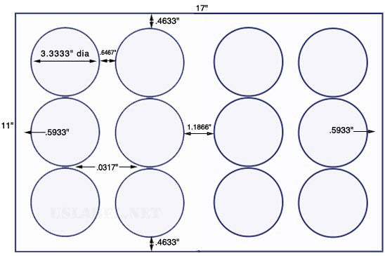 US8180 - 3 1/3'' Diameter circle - 12 up on a 11'' x 17'' sheet - 12,000 labels.