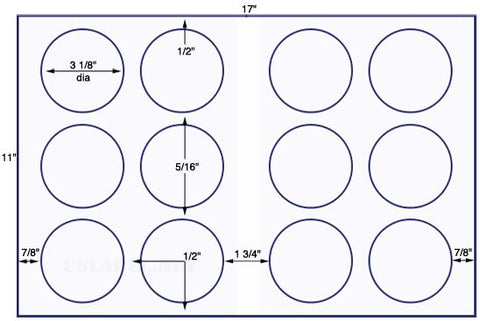 US8181 - 3 1/8'' Diameter circle - 12 up on a 11'' x 17'' sheet - 12,000 labels.