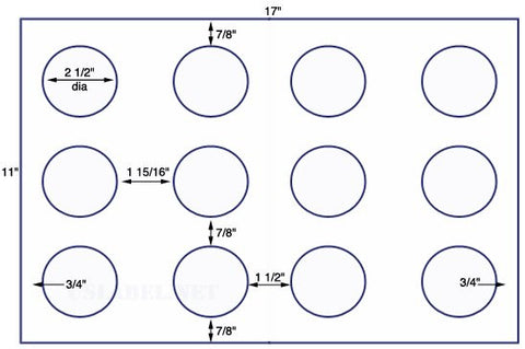 US8182 - 2 1/2'' Diameter circle - 12 up on a 11'' x 17'' sheet - 12,000 labels.