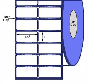 UST-15-1-10000-3 - 1 1/2'' x1''-10,000Labels 8'' O.D. on 3'' core 40,000 labels