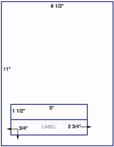 US0020HIG - 8 1/2'' x 11'' with 2 - 5'' x 1 1/2'' Square Corner labels. - uslabel.net  America's label store.